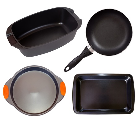 Set of cook pan. Isolated on white background with clipping path photo
