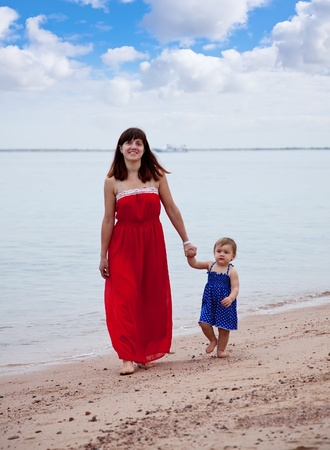 full length shot of mother with  toddler walking  on sand beach Stock Photo - 13151643