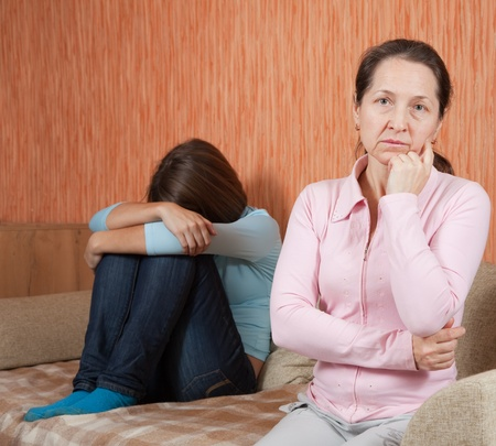 fracas: Mother and  daughter having quarrel at home Stock Photo