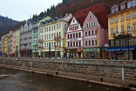 CARLSBAD, CZECHIA - NOVEMBER 23:  View of Carlsbad on November 23, 2011 in Bohemia, Czechia.Town is historically famous for its hot springs (13 main springs, about many smaller springs, and the warm-water Tepla River) Stock Photo - 13257704