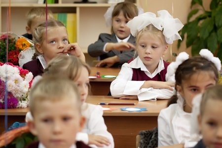 VLADIMIR, RUSSIA - SEPTEMBER 1: Day of Knowledge. First day in school. September 1, 2011 in Vladimir, Russia.Schoolchildren in their first lesson in school ¹ 36, now school has 1738 pupils Stock Photo - 13267006