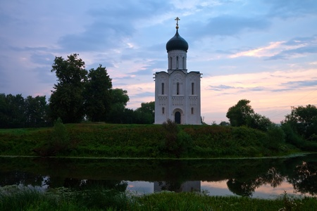 nerl: Church of   Intercession on the River Nerl in dawn Stock Photo