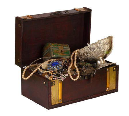 old container: wooden treasure chest with valuables, isolated over white background Stock Photo