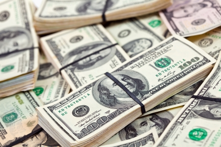 Many bundles of US dollars bank notes