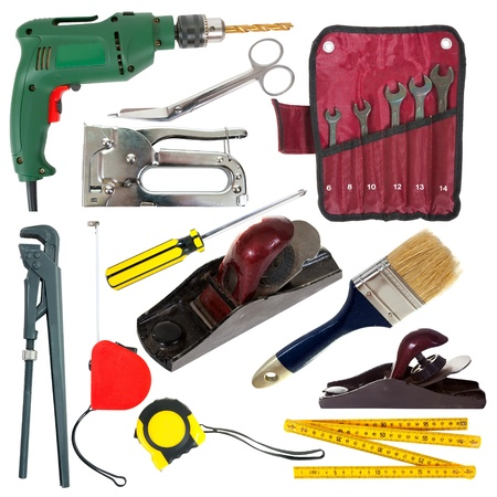 set of work tools. Isolated over white background  photo