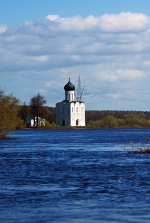 Church of the Intercession on the River Nerl in spring  flood Stock Photo - 13393985