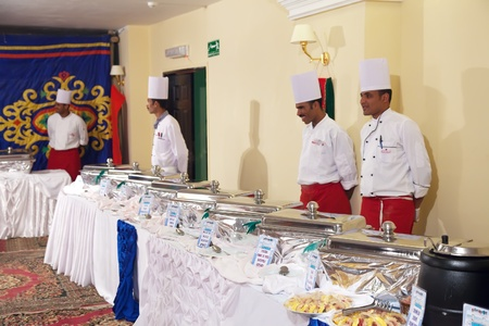 HURGHADA, EGYPT - DECEMBER 31:  Celebrating the New Year at Montillon hotel on December 31, 2011 in Hurghada, Egypt.Staff and buffet are ready for service