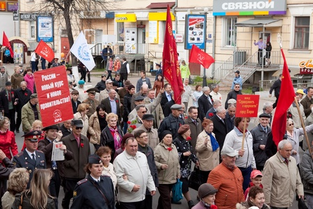 VLADIMIR, RUSSIA - MAY 1: May Day demonstration. People celebrate Labor Day,  May 1, 2012 in Vladimir, Russia.Opposition parties in the protest rally