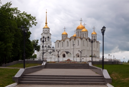 glum: Assumption cathedral  at Vladimir in summer, Russia. Constructed between 1158—1160