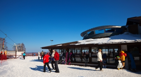 varying: GOROKHOVETS, RUSSIA - MARCH 25:  The ski resort Puzhalova Gora on March 25, 2012 in Gorokhovets, Russia.The resort has 16 trails of varying difficulty, with a total length of more than 4000 m, maximum length of 550 m