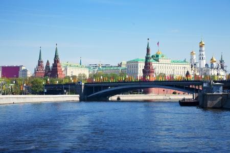 moskva river: Bolshoy Kamenny Bridge against Moscow Kremlin  Russia
