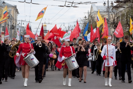 VLADIMIR, RUSSIA - MAY 1: Citizens are participating in the march of International Workers Day event May 1, 2012 in Vladimir, Russia. Workers and opposition group walks in main street