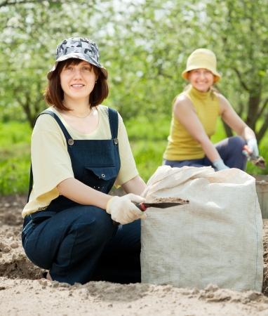 Two women fertilizes the soil in garden photo