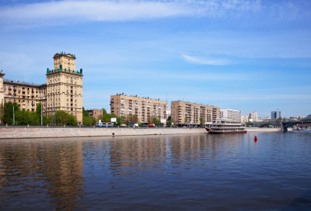 View of Moscow. Berezhkovskaya embankment  in spring day