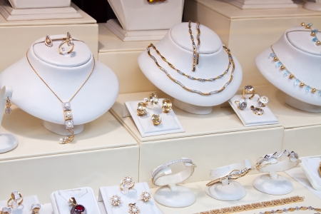 counter with variety jewelry in store window Stock Photo - 13761141