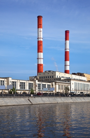 moskva river:  View of Moscow. Thermal power station at embankment of Moskva River