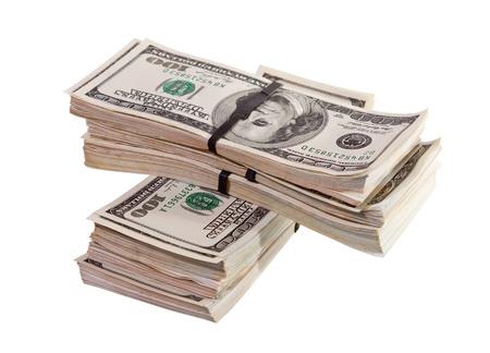 bundles of US dollars bank notes. Isolated on white background Stock Photo - 13801731
