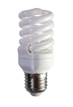 Compact florescent light bulb. Isolated over white background photo