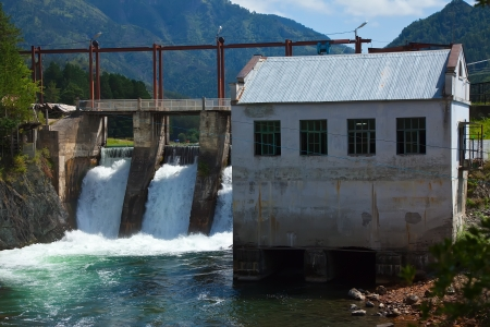 hydro-electric power station on Chemal, Altai, Siberia  photo
