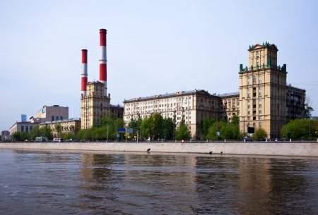 moskva river: View of Moscow. Power station at embankment of Moskva River