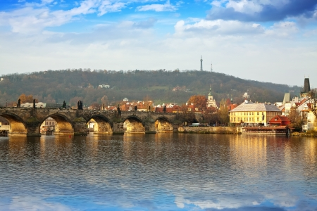 Day view of Prague wih Charles bridge. Czech Republic Stock Photo - 13849741