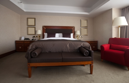 bedchamber: interior of bedroom with  double bed