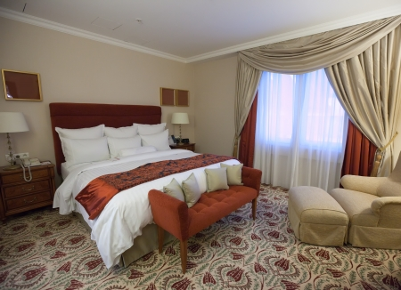 interior of bedroom with  double bed Stock Photo - 13877424