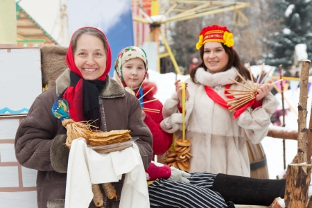 happy women celebrating  Shrovetide  at Russia Stock Photo - 13902557