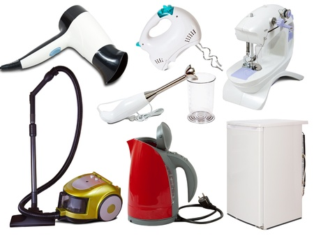 Set of  household appliances. Isolated on white background with shadows photo