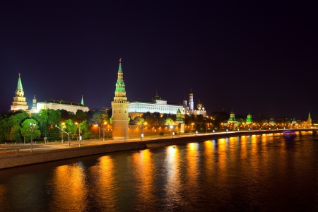 Kind to the Moscow Kremlin  and   Moskva River in night. Russia photo