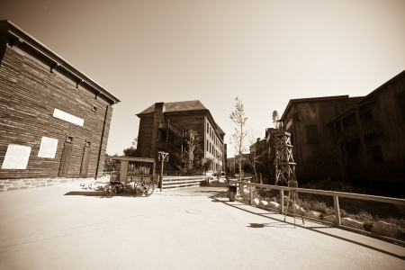 Wide angle vintage photo of Wild west town photo