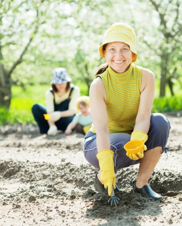 seed bed: women and kid sows seeds in soil at field