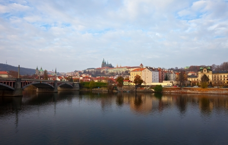 Morning view of Prague from Vltava  Czech Republic  Stock Photo - 13987270