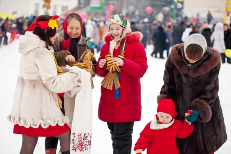 People celebrating  Shrovetide  at Russia photo