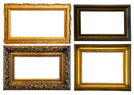 Set of few horizontally gilded frames. Isolated over white background with clipping path photo