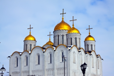 Domes of orthodoxy temple - Assumption cathedral  at Vladimir. Russia Stock Photo - 14030035