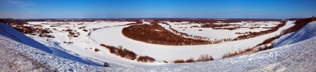 klyazma: Panoramic view of winter lanscape with frozen river, Vyazniki town and Klyazma river