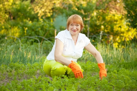 couching: Happy mature woman working in her vegetable garden