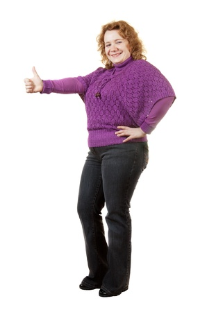 full length woman: Overweight woman. Isolated over white background Stock Photo