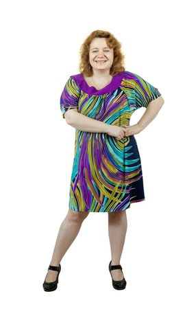 Happy fat ugly woman. Isolated over white background photo