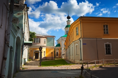 View of old street with St. George's Church at Vladimir in summer, Russia photo