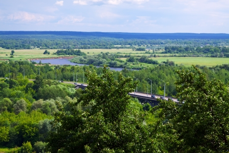 klyazma: Summer landscape with  bridge through Klyazma River. Russia