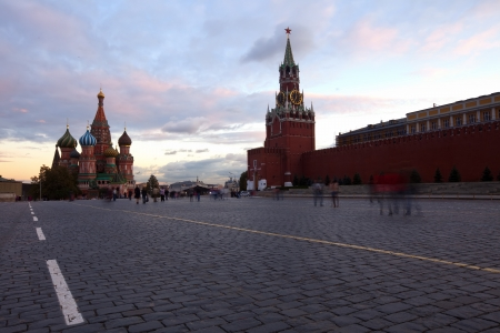 intercession:  Intercession Cathedral  and the Spassky Tower of Moscow Kremlin at Red Square in Moscow. Russia