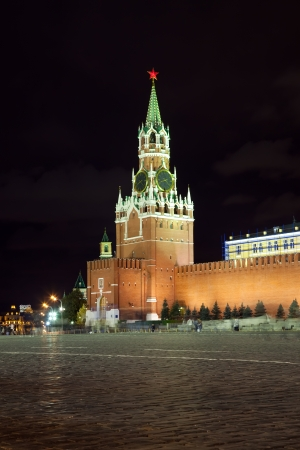 spassky: Spassky Tower of Moscow Kremlin at Red Square in Moscow. Russia Editorial