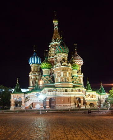 intercession: Intercession Cathedral at Red Square in night. Moscow, Russia Stock Photo
