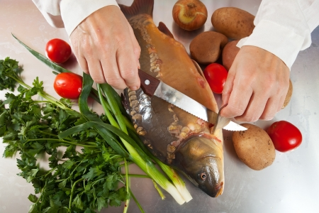 Closeup of cook cooking fish  in kitchen Stock Photo - 14265098
