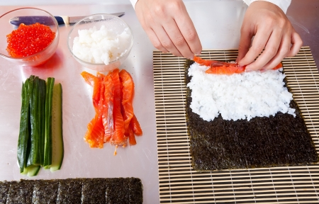 Closeup of cook making  Japanese sushi rolls  with salmon