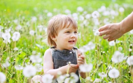 happy baby sitting in dandelion meadow photo