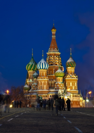 intercession: Intercession Cathedral at Red Square in winter night. Moscow, Russia Stock Photo