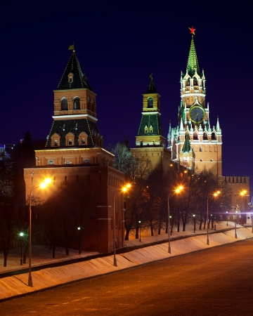 Moscow Kremlin towers in winter night. Moscow, Russia  photo